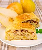 Strudel With Pears On Linen Tablecloth