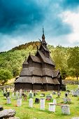 Borgund Stave Stavkirke Church And Graveyard, Norway