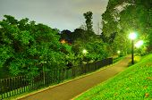 stock photo of singapore night  - Lighted walkway at Kent Ridge Park - JPG