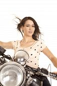 Woman Close On Motorcycle Hair Blowing Look