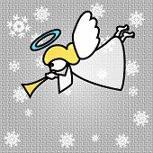 stock photo of angel-trumpet  - Vector Christmas Background Illustration with Trumpeting Angel - JPG