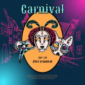 Venetian carnival mask composition poster