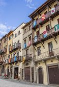 Buildings With Medieval Shields At The Piazza Grande In Arezzo