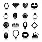 foto of gem  - Jewelry icons black set of fashion expensive gems and treasure accessories isolated vector illustration - JPG