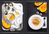 Autumn Food Background. Vegetable Cream Soup With Whipped Cream And Piece Of Pumpkin, Pumpkin Dinner