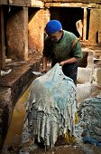 Worker of Fes Leather Tannery