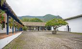 View of an old hacienda's central plaza