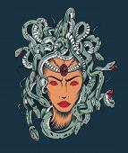 Illustration of Medusa Gorgon head.