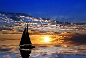 I sailboat plying clouds in the water