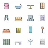 Colorfull home furniture vector isolated icons set