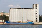 picture of silo  - Silos and a ship in a port - JPG