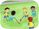 pic of stickman  - Stickman Illustration of Boys Playing Field Hockey - JPG