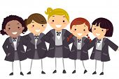 Stickman Illustration of Girls Wearing Their Winter Uniform