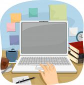 Cropped Illustration of a Person Using a Laptop to Do His Work