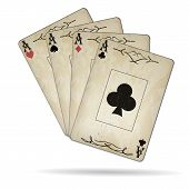 image of ace spades  - Ace of spades ace of hearts ace of diamonds ace of clubs poker cards set old look - JPG
