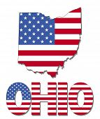 Ohio map flag and text illustration