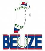 Belize map flag and text illustration