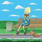 Cartoon Girl In Park Sitting On The Banch Beside Urn Reading A Book