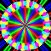 foto of trippy  - Abstract crazy colorful circle on black background - JPG