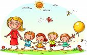 picture of cartoon character  - Cartoon kids and their teacher on a walk in the kindergarten - JPG