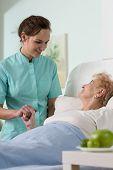 Ill Senior Woman In Hospital