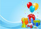 image of birthday party  - Party balloons and gifts background with gifts and balloons - JPG