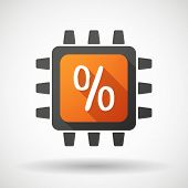 Cpu Icon With A Discount Sign