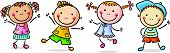 picture of jumping  - Four happy kids dancing or jumping - JPG