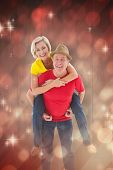 Mature couple joking about together against light design shimmering on red
