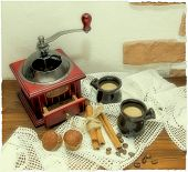 image of polaroid  - old coffee grinder with cinnamon muffins and coffee on a background of white lace installation polaroid photo - JPG