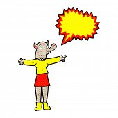 cartoon pointing werewolf woman with speech bubble