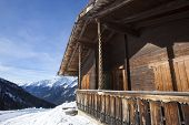 Ski Hut In The Snowy Austrian Alps