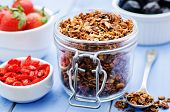 Granola With Nuts, Goji Berries And Strawberries