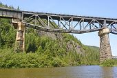 picture of inverted  - Inverted Truss Bridge from Below over the Little Pic River in Ontario