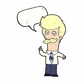 cartoon man with mustache explaining with speech bubble