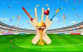 illustration of stadium of cricket with bat, ball and trophy