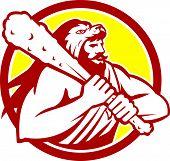 Hercules Lion Skin Wield Club Circle Retro