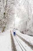Girl cross country skiing