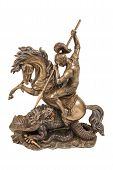Figurine A Warrior On Horseback Fighting The Dragon