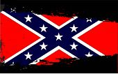 stock photo of confederation  - The flag of the Confederates beneath a black splash - JPG