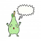 cartoon frightened pear with speech bubble