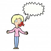 picture of tell lies  - cartoon woman telling lies with speech bubble - JPG