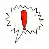 cartoon exclamation mark with speech bubble