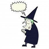 cartoon ugly old witch with speech bubble