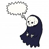 stock photo of ghoul  - cartoon spooky ghoul with speech bubble - JPG