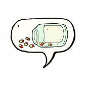 cartoon jar of pills with speech bubble