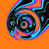 picture of trippy  - Crazy illustration with smeared colors on orange base - JPG