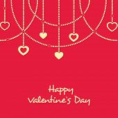 Elegant greeting card design with stylish hanging hearts on red background for Happy Valentine's Day celebrations .