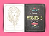 stock photo of special day  - Beautiful greeting card decorated by modern young girl face for International Women - JPG