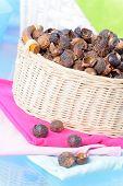 Basket full of soap nuts, natural bio detergent.